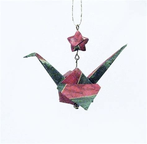 Origami Crane Ornaments - origami crane ornament with lucky burgundy and