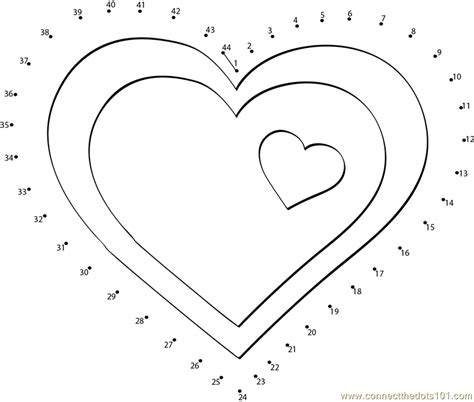 hearts clip dot to dot printable worksheet