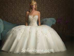 Puffy Wedding Dresses Ball Gown Sweetheart Puffy Tulle Wedding Dress With Embroidery Pearls Beading