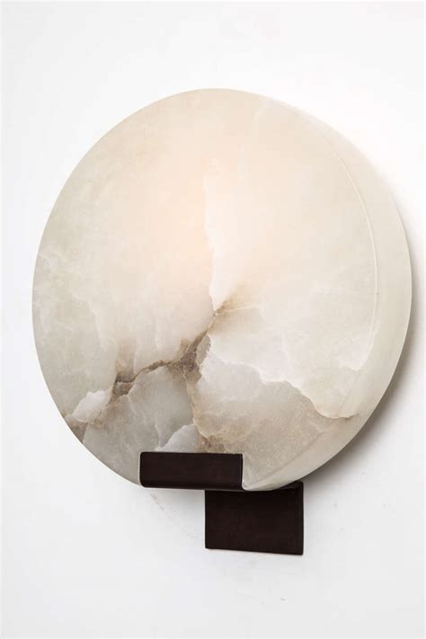 Alabaster Wall Sconce Pair Of Veined Alabaster Quot Moon Quot Sconces By Stephen Downes At 1stdibs