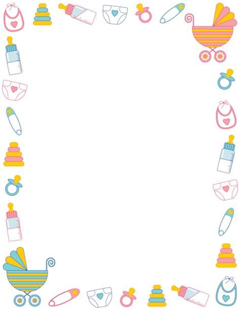 baby shower page borders printable baby shower border free gif jpg pdf and png