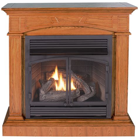Shop Procom 32000 Btu Full Size Medium Oak Gas Fireplace Gas Fireplaces At Lowes