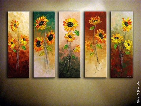 oversized abstract sunflower painting palette knife