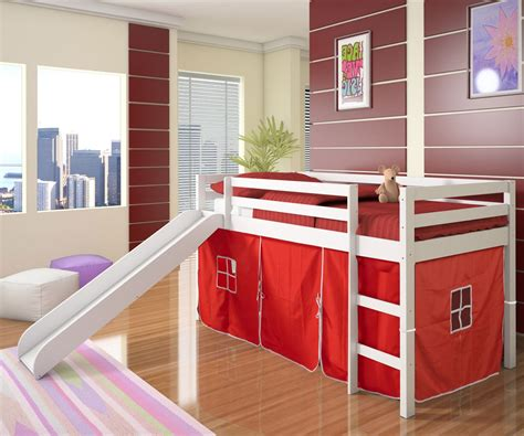 Toddler Bunk Bed With Slide Low Loft Bed With Tent Slide White Bedroom Furniture Beds