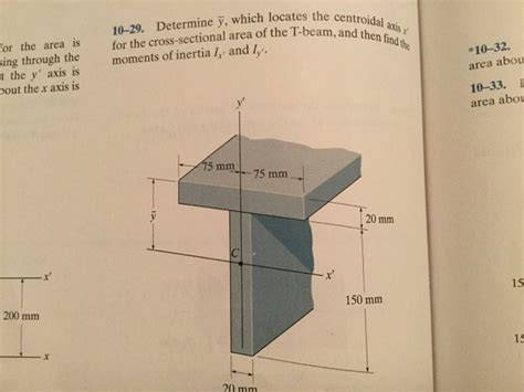 cross sectional area of a beam 10 29 determine y which locates the centroid all