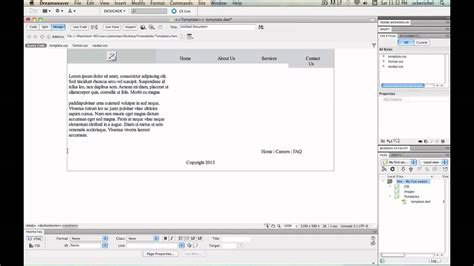 tutorial create website using dreamweaver creating a html5 website with template using dreamweaver