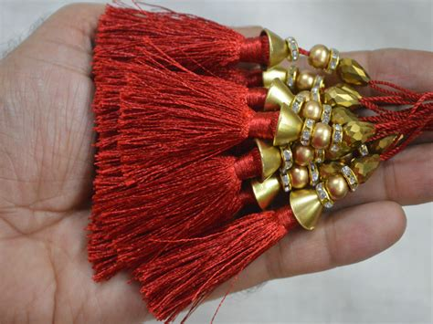 Handmade Tassels - 4 pieces handmade decorative tassels latkan jewelry tassels