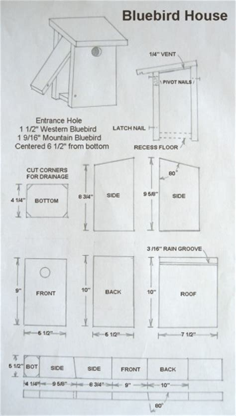 Birdhouse And Nest Box Plans For Several Bird Species Bluebird House Plans Pdf