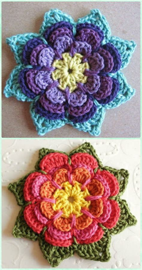Crochet Motif Patterns Images crochet 3d flower motif free patterns