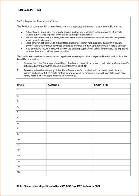 Templates For Petitions 5 petition template authorizationletters org