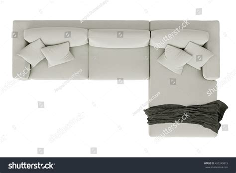 top view of couch modern sofa white fabric draped fabric stock photo