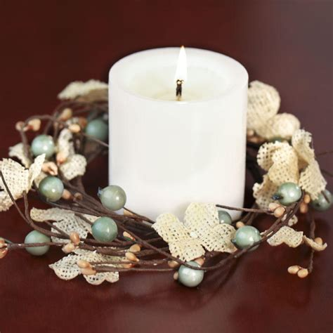 Burlap Hydrangeas and Berries Candle Ring   Candles and