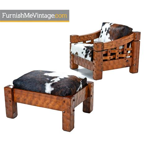 cowhide chair and ottoman pine lounge chair and ottoman upholstered in cowhide leather