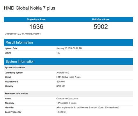 geek bench browser il nokia 7 plus appare nel database di geekbench con