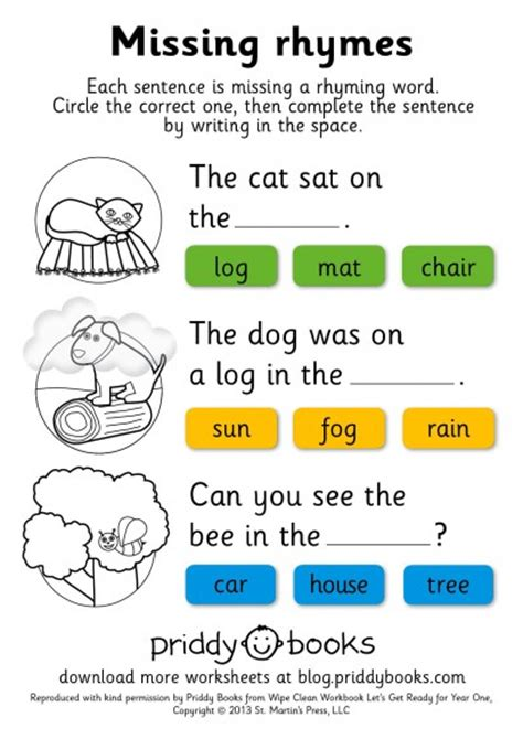 year 1 literacy pattern and rhyme download and print worksheets priddy books