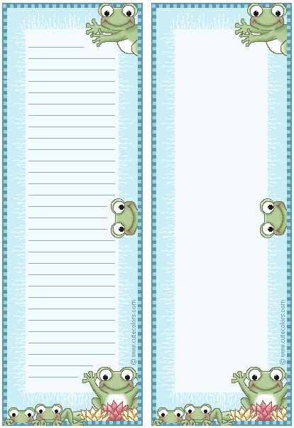 frog border writing paper http www cutecolors frog printables