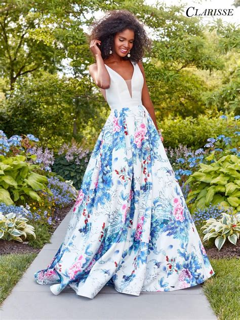 clarisse  floral print prom dress french novelty