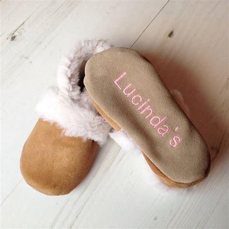 bespoke slippers personalised children s sheepskin slippers by born bespoke