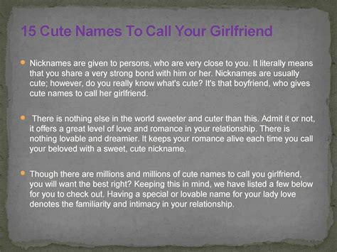 What nickname to call your girlfriend