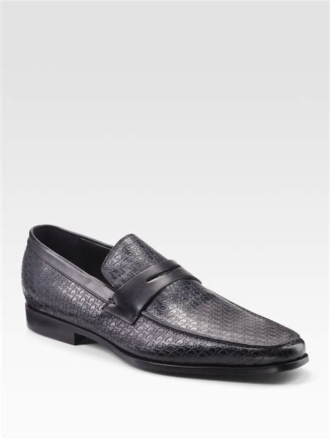 homme loafers homme embossed leather loafers in black for lyst
