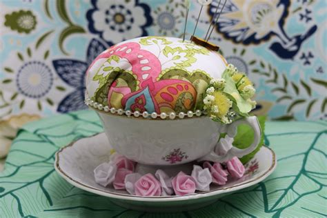 Handmade Pincushions For Sale - handmade teacup pincushions the creative cottage