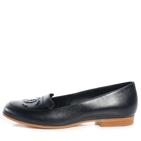 chanel leather loafers chanel leather cc loafers 39 black 74950
