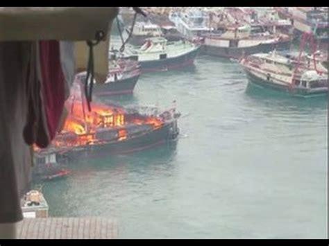 fire boat hong kong hong kong boat fire leaves five injured youtube