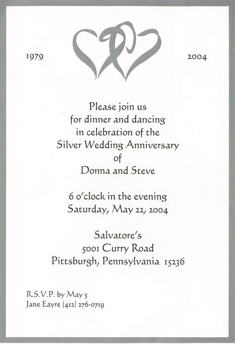 wedding anniversary invitation templates 25th wedding anniversary invitations wording