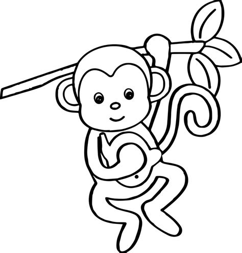 coloring page monkey hanging monkey coloring pages hanging from tree coloringstar