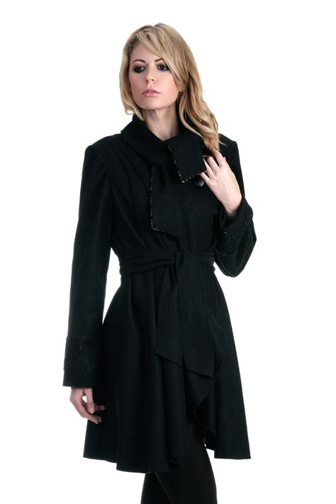 womens swing coat wool contemporary women s wool blend swing coat with lace trim