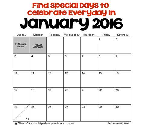 january 2016 holidays and special days calendar template january holidays holiday favorites