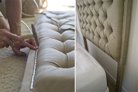 how to upholster a headboard with nailheads sarah m dorsey designs tufted headboard with nailhead
