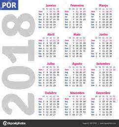 Calendã De 2018 Os Feriados Portugu 234 S Brasileiro Calendar 2018 Vetores De Stock