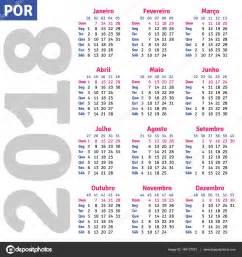 Mexico Kalender 2018 Portugu 234 S Brasileiro Calendar 2018 Vetores De Stock