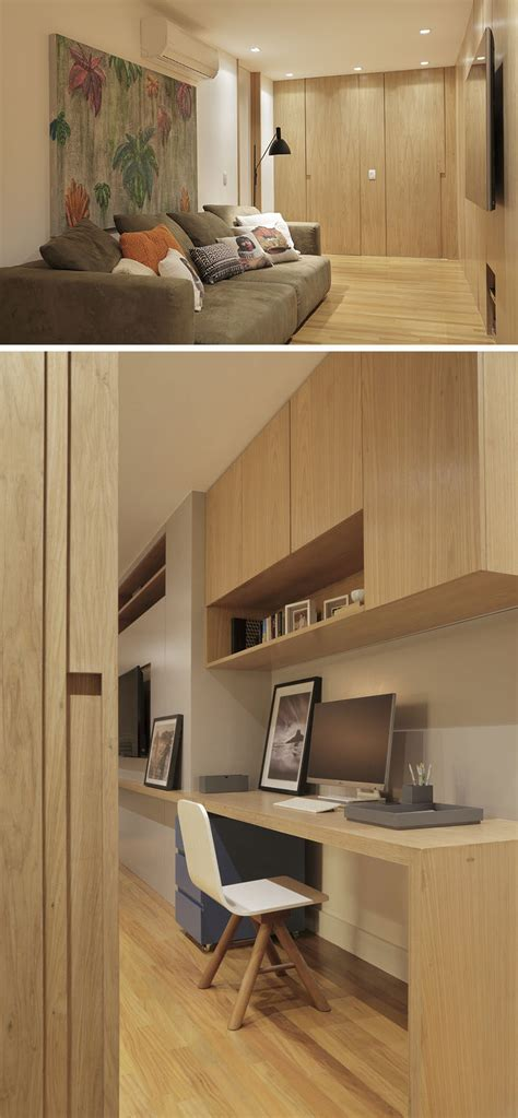 built in desk with upper cabinets this brazilian apartment s interior design features wood