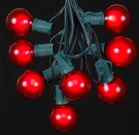 red satin g50 globe round outdoor string light set on