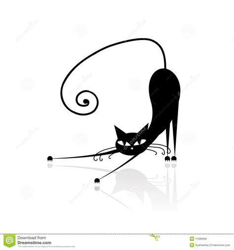 black cat silhouette for your design royalty free stock