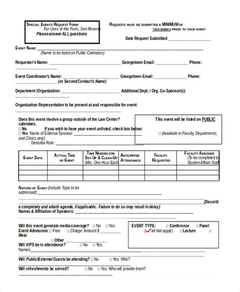 Event Application Form Template event request form sle forms