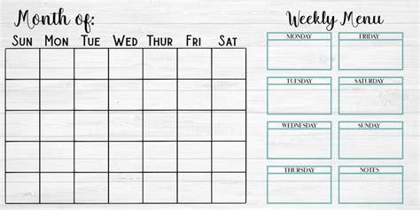 monthly calendar weekly menu  includes