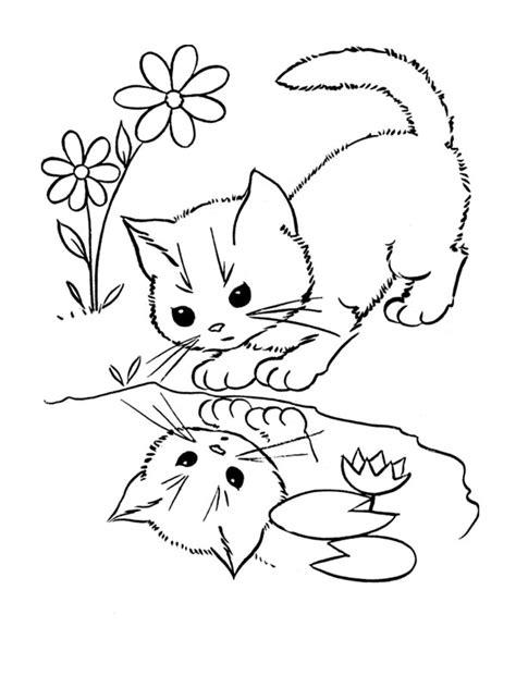 coloriage de chaton a imprimer az coloriage coloriage le chat et son reflet dans l eau chats
