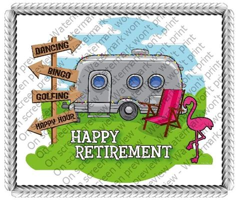 happy retirement cer frosting sheet cake topper