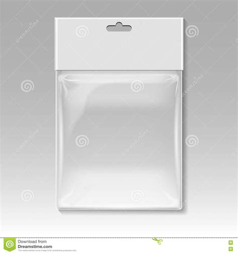 blank plastic pocket bag vector template stock vector