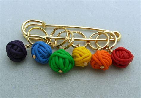 knitting stitch markers stitch markers yarn balls for knit or crochet set of 6