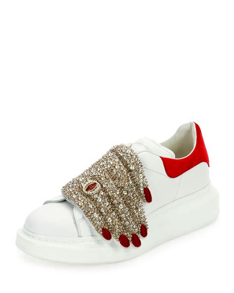 mcqueen sneakers lyst mcqueen flat leather sneaker w jeweled
