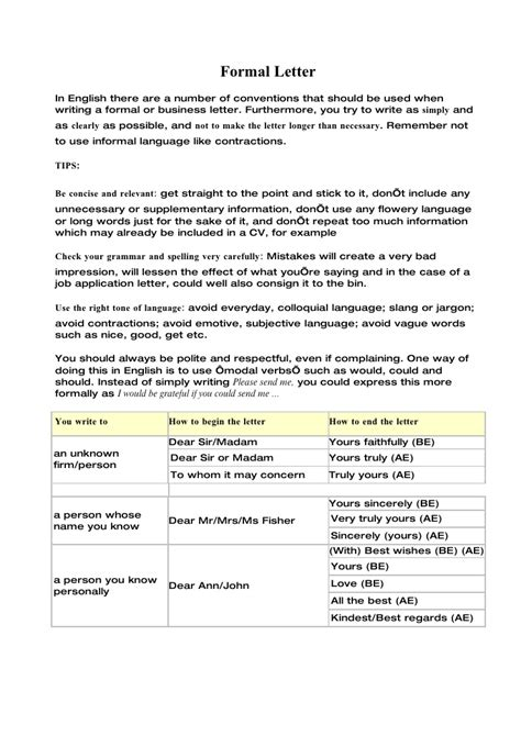 Business Letter Writing Conventions Formal Letter2