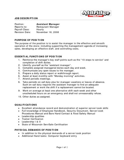 restaurant assistant manager resume best photos of restaurant manager description templates restaurant general manager