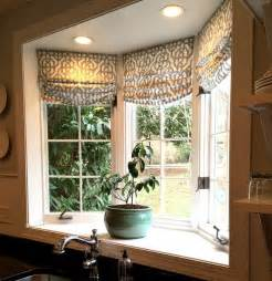 Kitchen Bay Window Treatment Ideas Custom Shades In Lacefield Imperial Bisque Fabric By The Yard Via Cottage And Vine