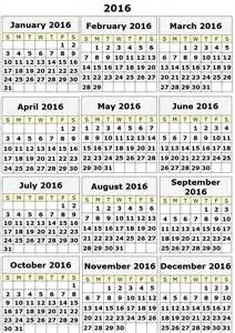 This is a 2016 yearly calendar template that you can print out on a