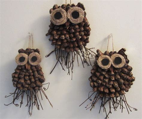 owl creations from pine cones and fluff pine cone owl craft crafthubs nature owl crafts pine cone and pine
