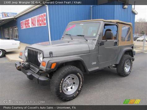 1998 Jeep Wrangler Se Emerald Green Pearl 1998 Jeep Wrangler Se 4x4 Khaki